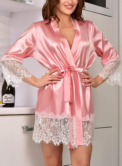 Beautiful Pink Satin Robes For Women