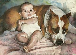 retrato en acuarela de bebé y perro