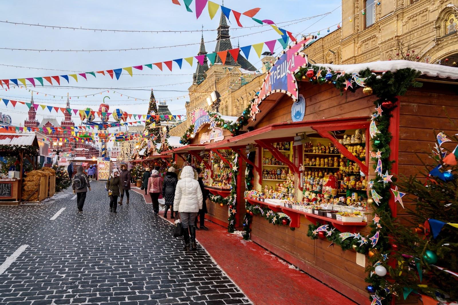 Рождественская ярмарка на Красной площади.
