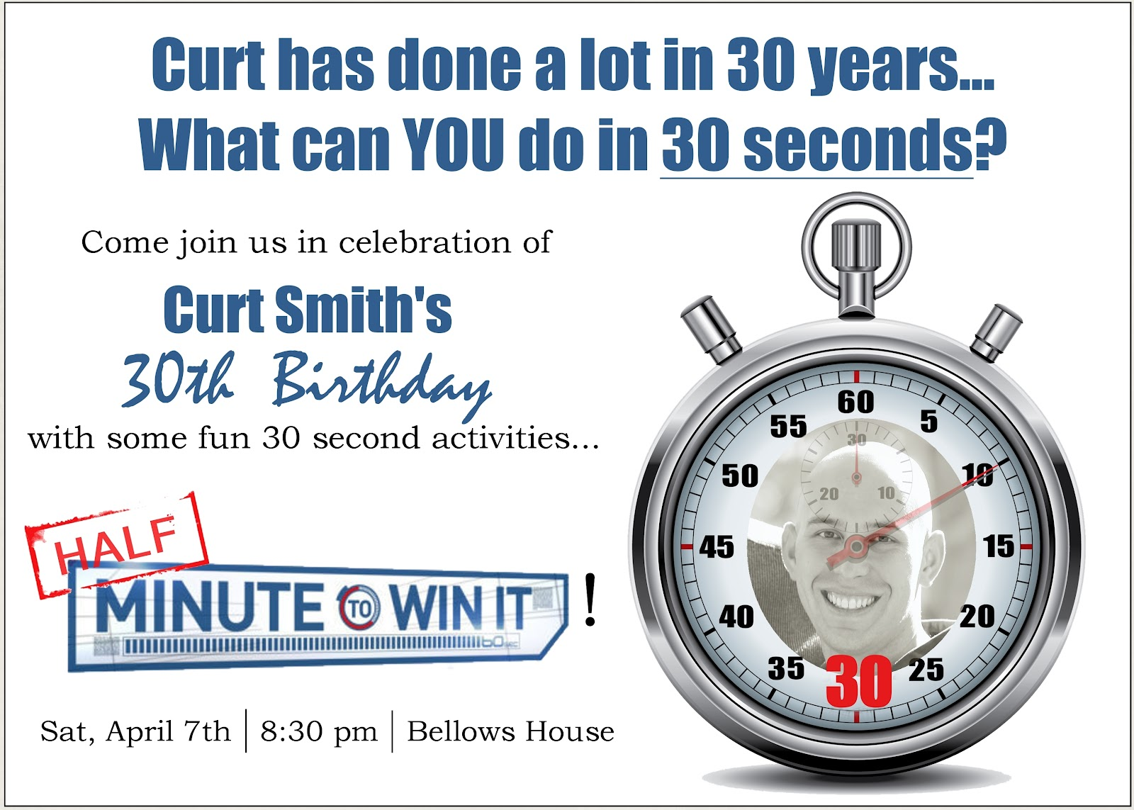 Minute To Win It 30th Birthday Party