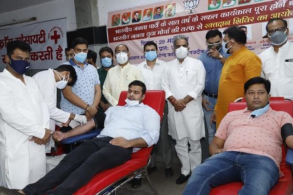 pankaj-singla-blood-donation-faridabad-bjym-chief