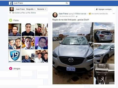 Franz Pari no tuvo cautela para exponer su repentina bonanza en las redes sociales