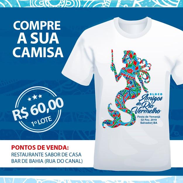 Camisa do Bloco amigos do Rio Vermelho já está a venda. Garanta logo a sua!