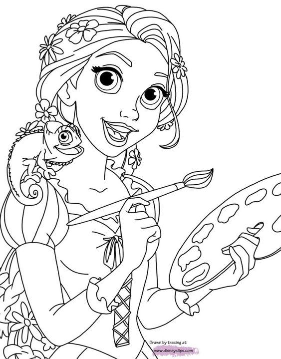 Tranh tô màu nàng công chúa tóc mây vẽ tranh