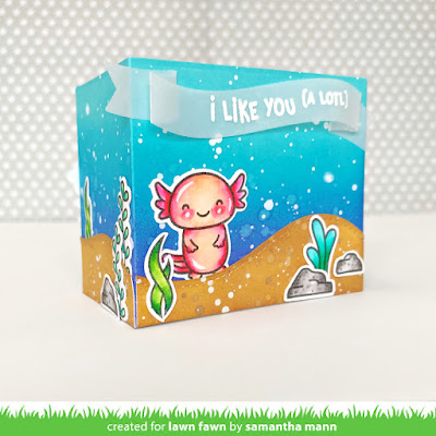I Like You (alotl) Shadow Box Card by Samantha Mann for Lawn Fawn, YouTube Video, Distress Inks, 3D Card, Shadow Box Card, Cards, Cardmaking,  #lawnfawn #shadowboxcard #shadowbox #youtubevideo #diycard #cardtutorial, #cards #cardmaking