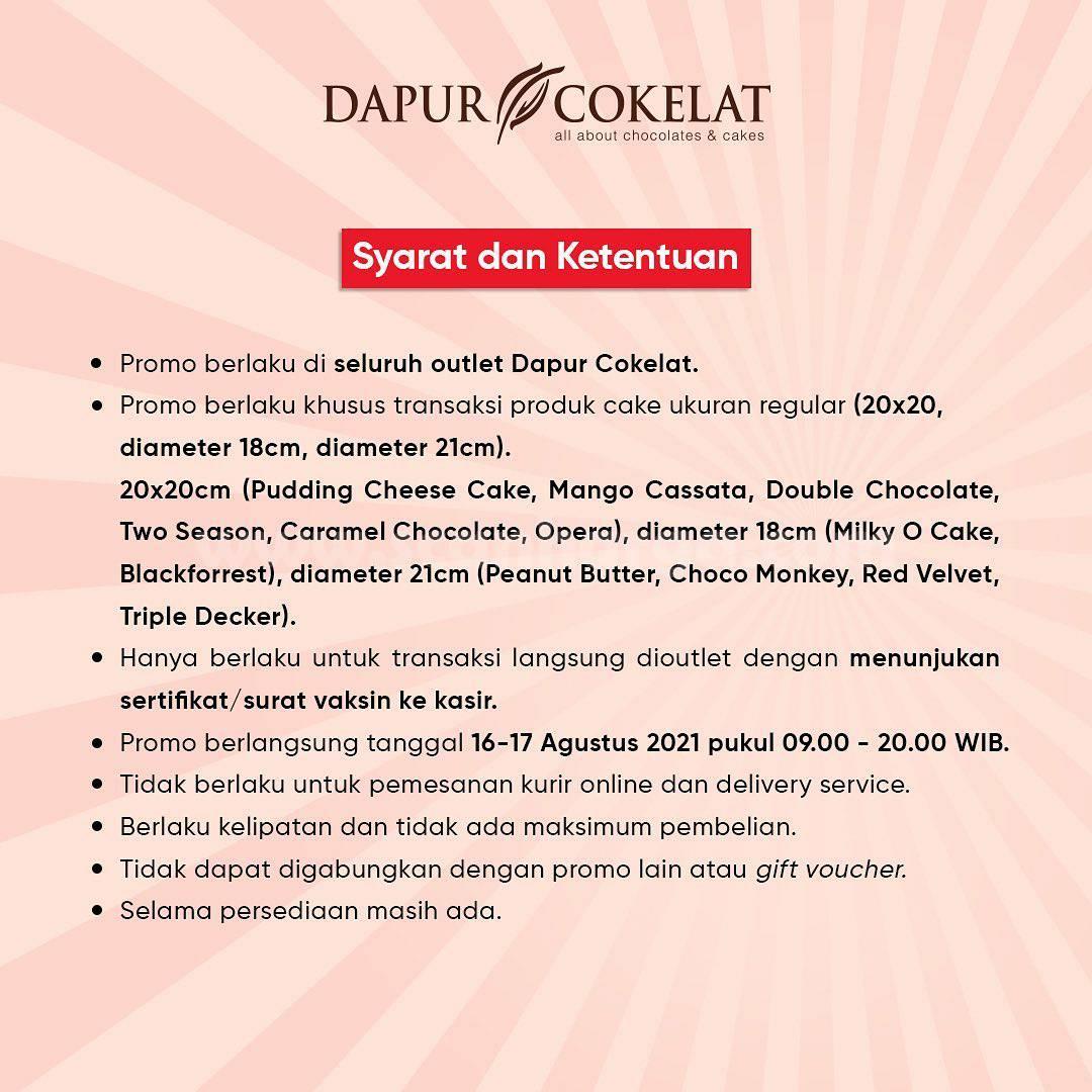 DAPUR COKELAT Promo GRATIS ICED CHOCOLATE!! dengan Tunjukan Kartu Sertifikat Vaksin 2