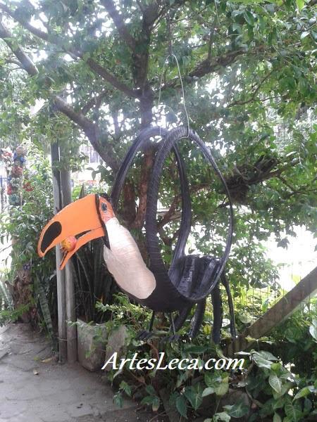 Tucano floreira feito com pneu de moto