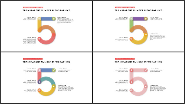 Infographic Transparent Design Elements for PowerPoint Templates in white background using Number 5
