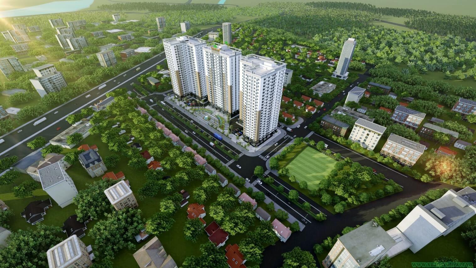 Phối cảnh tổng thể Xuân Mai Tower Thanh Hoá