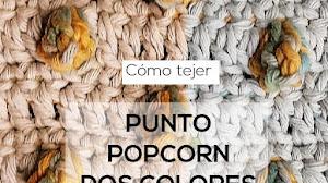 Cómo tejer el punto popcorn o punto bodoque en dos colores | Tutorial Crochet