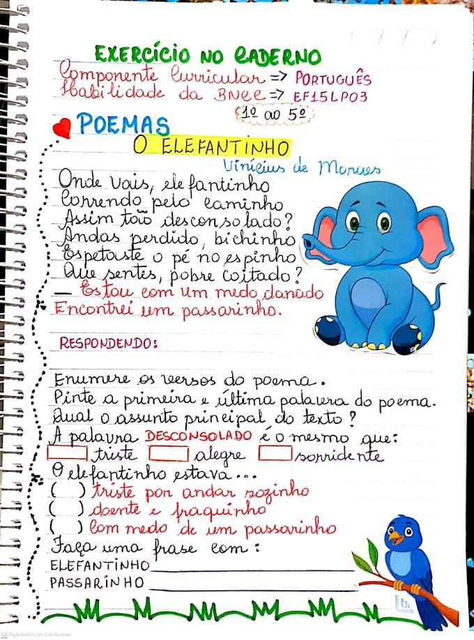 Exercício com interpretação do poema elefantinho de Vinícuis de Moraes de acordo com a BNCC
