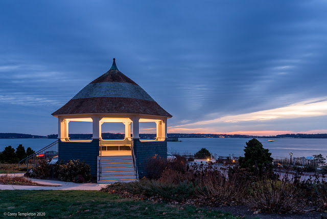 Portland, Maine USA November 2020 photo by Corey Templeton of Fort Allen Park Gazebo at sunrise.