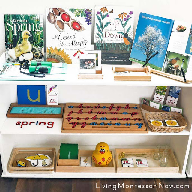Montessori Shelves with Spring-Themed Activities