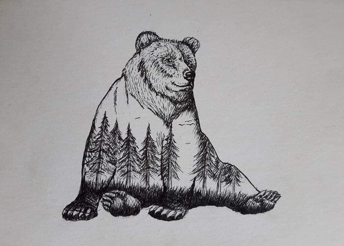 03-Grizzly-Bear-mARTin-Black-and-White-Stippling-Animal-Drawings-www-designstack-co
