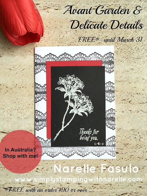 Avant Garden & Delicate Details - FREE with a qualifying order until March 31 - Sale-A-Bration - Simply Stamping with Narelle - shop here - https://www3.stampinup.com/ecweb/default.aspx?dbwsdemoid=4008228