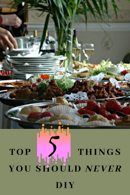 Buffet with white plates stacked and food displayed - Wedding blog - wedding planners - Weddings by K'Mich - Philadelphia PA