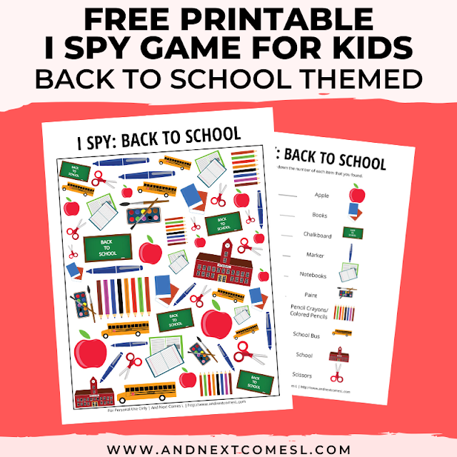 Free I spy game printable for kids: back to school themed