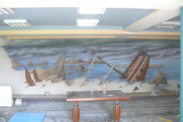 Artystyczne malowanie obrazu na ścianie 3D, piraci, ararnżacja wnętrza kręgielni, Warszawa