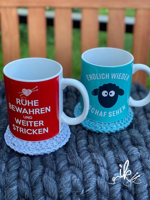 Untersetzer stricken Less Waste stricken Ines Kollwitz Upcycling