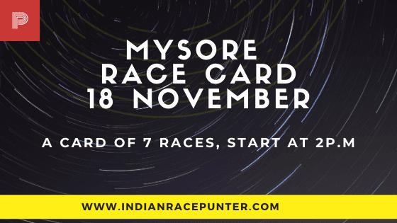 Mysore Race Card, 18th November