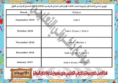توزيع منهج اللغة الانجليزية للصف الثالث الابتدائي للترم الاول 2018 - 2019
