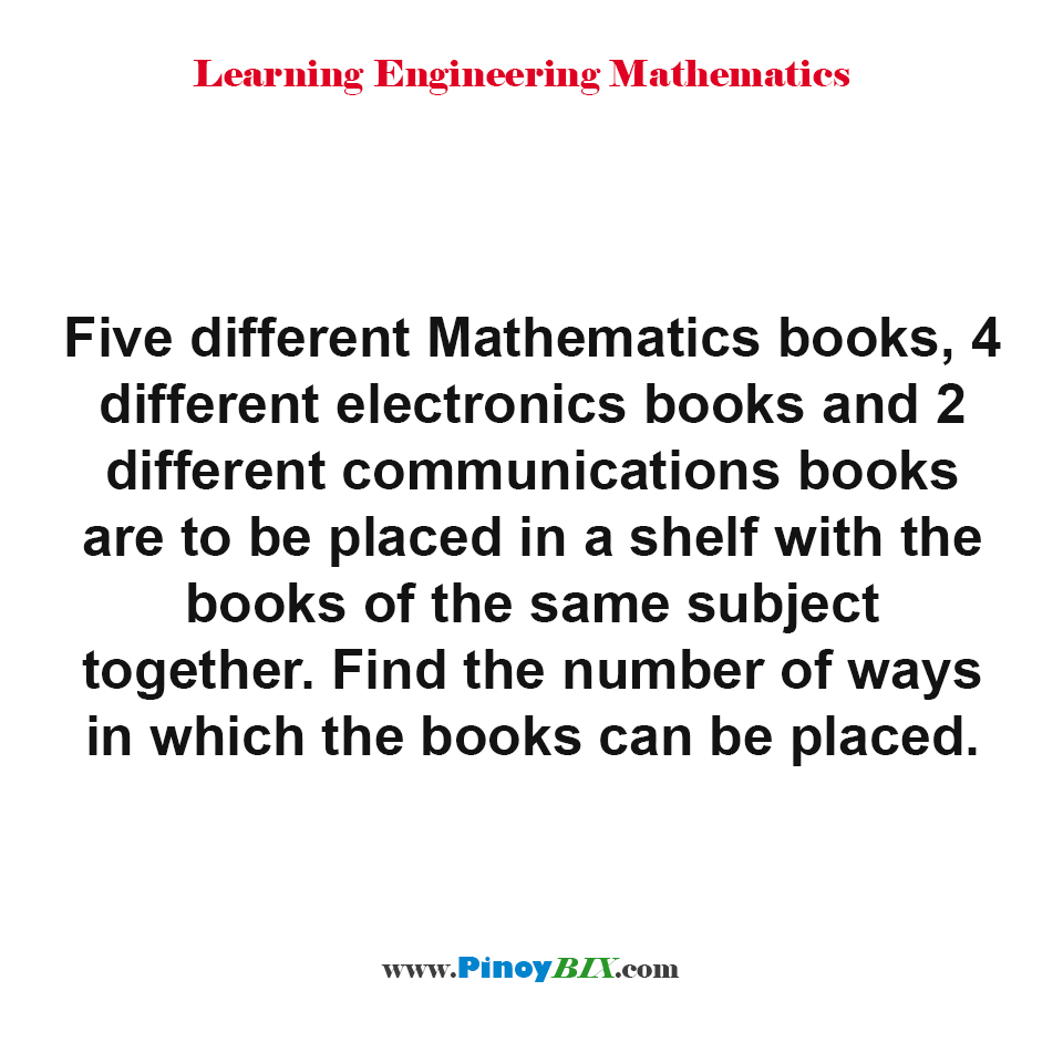 Find the number of ways in which the books can be placed in a shelf
