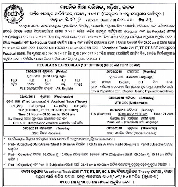 2018 BSE Odisha HSC Board 10th Madhyama Exam Time Table Date