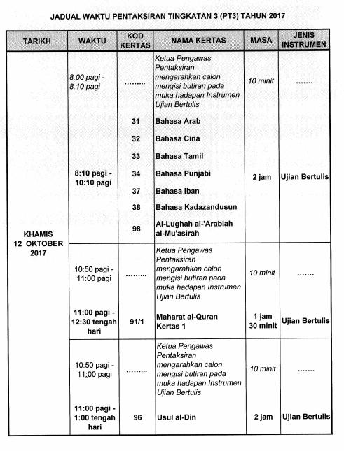 Saps Jadual Waktu Peperiksaan Pt3 2017