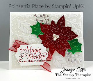 Stampin' Up!®'s Poinsettia Petals Bundle, Plus Poinsettia designer paper, Real Red Sheer Ribbon, Everyday Label Punch.  #StampinUp #StampTherapist