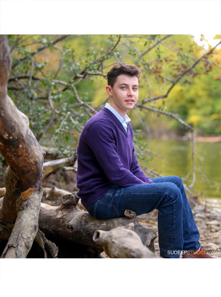 Huron High School Guys Senior Portrait in Nature Park SudeepStudio.com Ann Arbor Senior Pictures Photographer