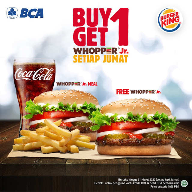 #BurgerKing - #Promo Jum'at Buy 1 Get 1 Free Whooper Jr Pakai BCA