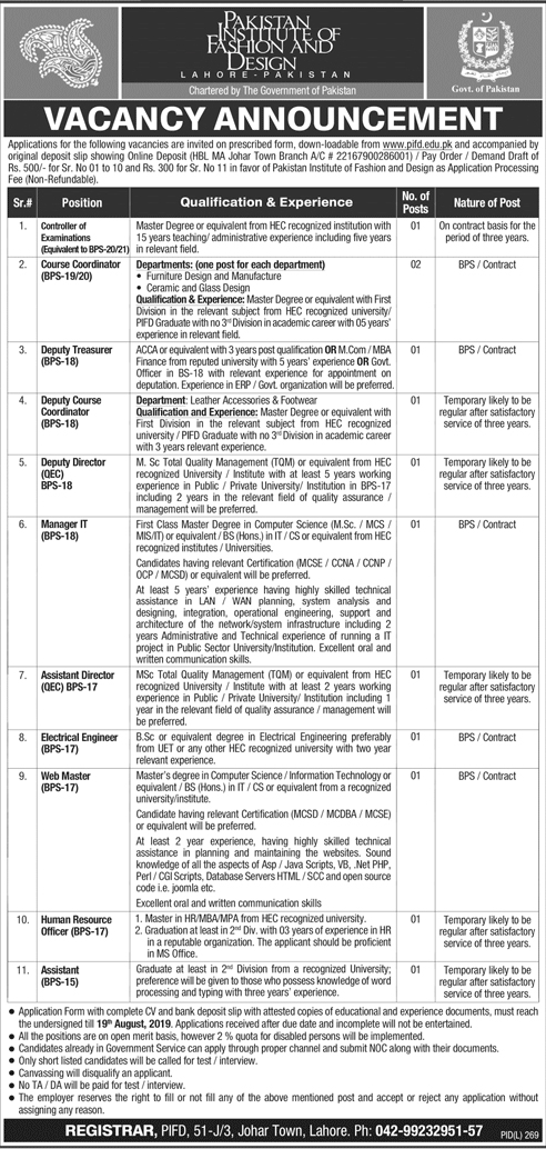 Jobs in Pakistan Institute Of Fashion And Design Jobs 2019 Govt of Pak