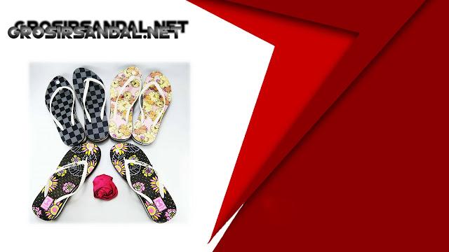 Sandal Spon Tebal Motif-Bunga Dewasa || Grosir Sandal Jepit Murah