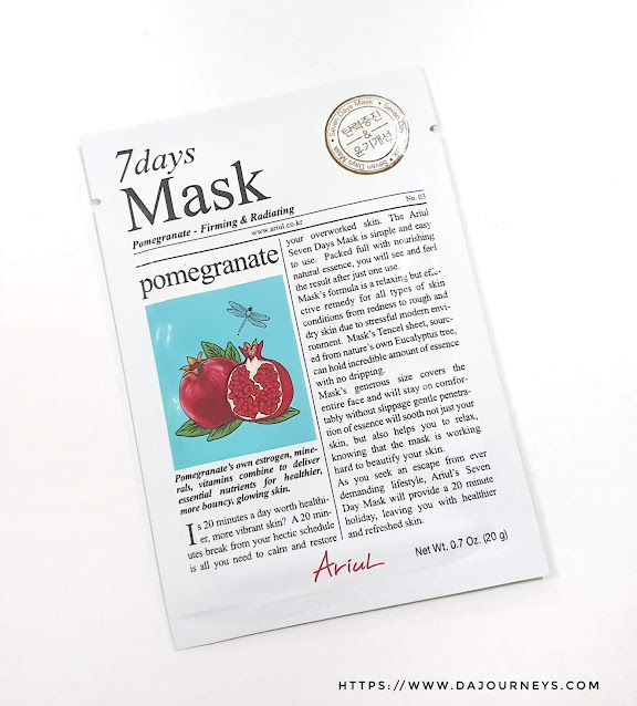 Review ARIUL 7 Day Masks Pomegranate