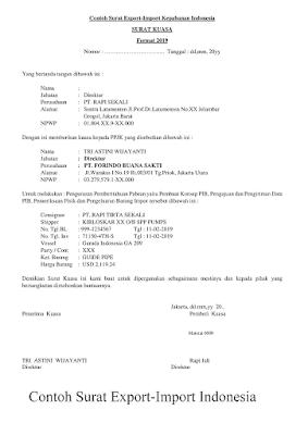 Contoh Surat Export-Import Barang