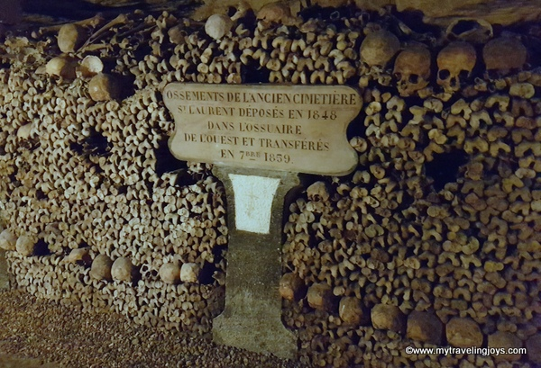 Bones deposited 1859 Catacombs Paris