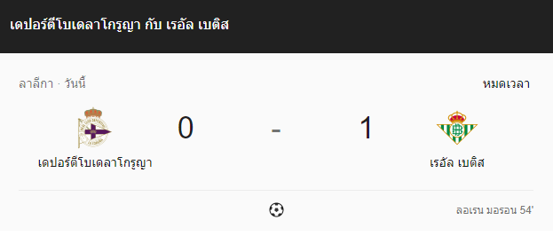แทงบอล ไฮไลท์ เหตุการณ์การแข่งขันระหว่าง ลา คอรูญญ่า vs เรอัล เบติส
