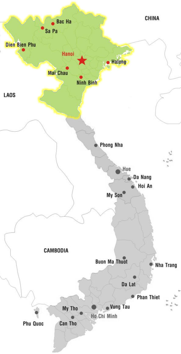 Northern Vietnam Map.Cities Of North Vietnam
