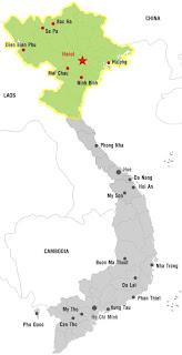 Mapa da Vietnã do Norte
