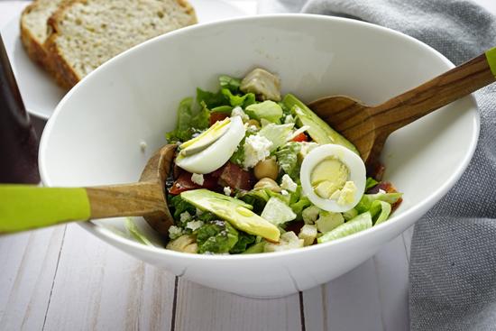 Chopped Cobb Salad with Garbanzo Beans and Feta Cheese