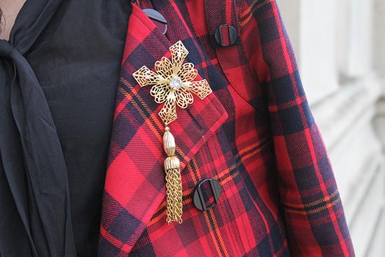 Vintage Gold Tassel Brooch on Plaid Jacket | Will Bake for Shoes