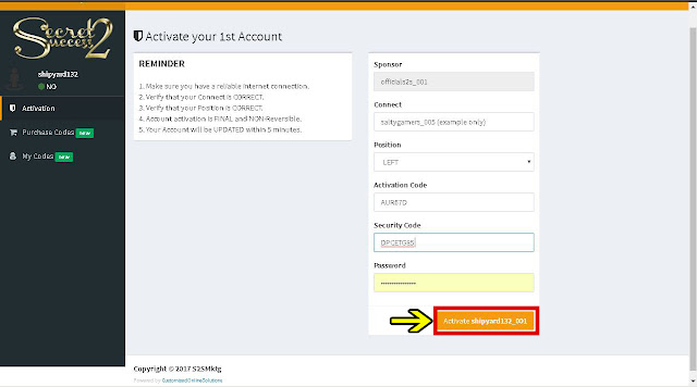 Secret2success S2S Activation Code and Security Code