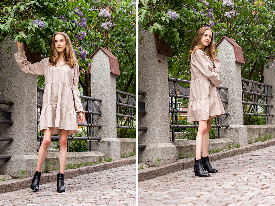 Beige smock dress with leather ankle boots - Beige mekko ja mustat nilkkurit