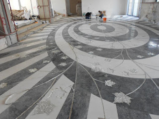 glass mosaic and marble