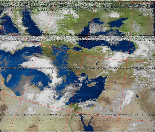 Color view of  the received APT image from the NOAA 19 using SDR# and WXtoImg.