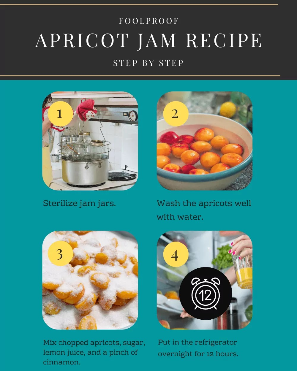 The first step of preparing apricot jam