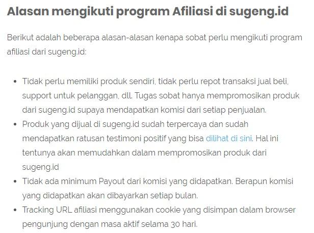Alasan mengikuti program Afiliasi di sugeng.id