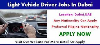 Light Driver Jobs Recruitment in Dubai Location