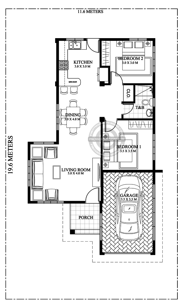 Simple 3 Bedroom House Plans, Layout And interior Design With Garage - 3 bedroom house plans