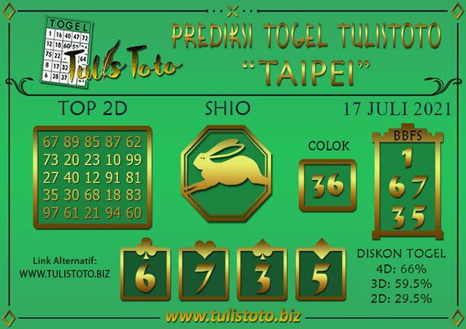 Prediksi Togel TAIPEI TULISTOTO 17 JULI 2021